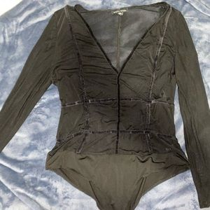 Other - mesh caged body suit with velvet trimming